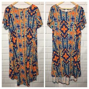 LuLaRoe Carly Orange and Blue Aztec Print (22-24)